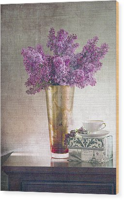 Lilacs In Vase 2 Wood Print by Rebecca Cozart