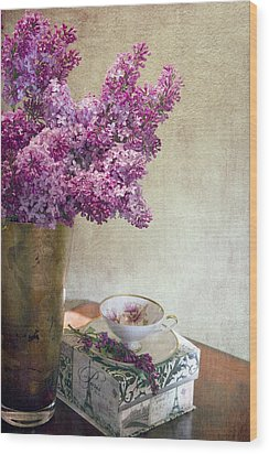 Lilacs In Vase 3 Wood Print by Rebecca Cozart