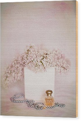 Lilacs Pearls And Perfume Wood Print by Rebecca Cozart