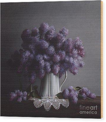 Lilacs Study No.2 Wood Print by Larry Preston