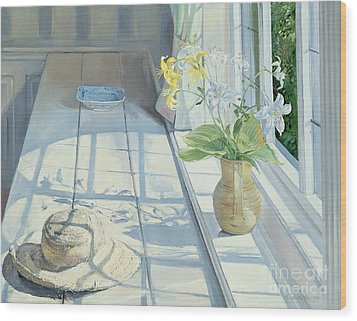 Lilies And A Straw Hat Wood Print by Timothy Easton