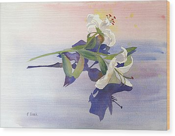 Lilies At Rest Wood Print by Patricia Novack