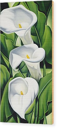 Lilies Wood Print by Catherine Abel