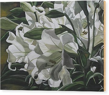 lilies for Easter Wood Print by Alfred Ng