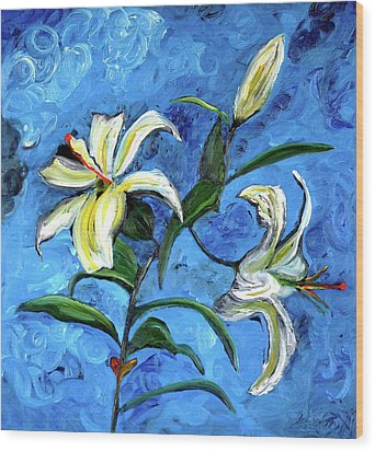 Lilies Wood Print by Gregory Allen Page