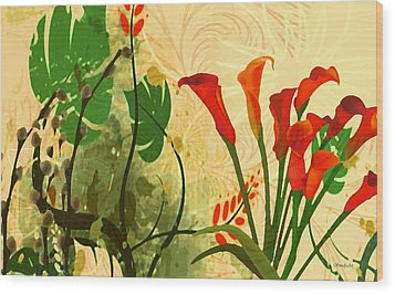 Lilies In The Park Wood Print by Madeline  Allen - SmudgeArt