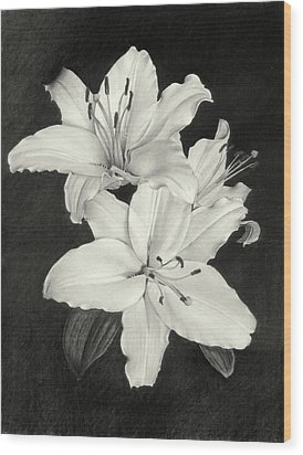 Lilies Wood Print by Nicola Butt