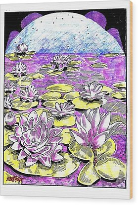 Wood Print featuring the drawing Lilies Of The Lake by Seth Weaver