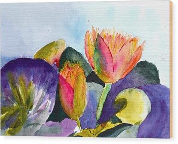 Lilies Of The Water Wood Print by Beverley Harper Tinsley