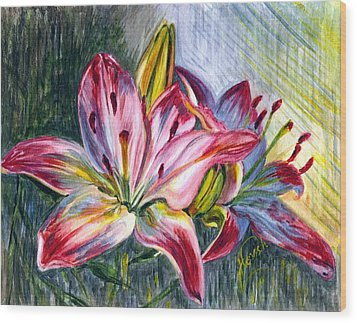 Wood Print featuring the painting Lilies Twin by Harsh Malik
