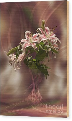 Lilies With Floating Vas Wood Print