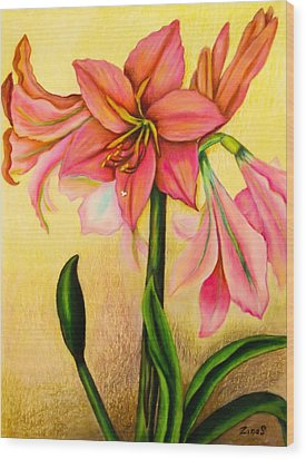 Lilies Wood Print by Zina Stromberg