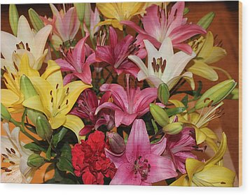 Wood Print featuring the photograph Lilies by John Mathews