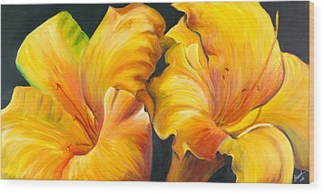 Wood Print featuring the painting Lillies by Sheri  Chakamian