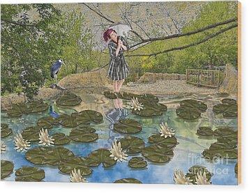 Lilly Pad Lane Wood Print by Liane Wright