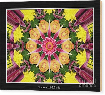 Wood Print featuring the photograph Lily And Chrysanthemums Flower Kaleidoscope by Rose Santuci-Sofranko