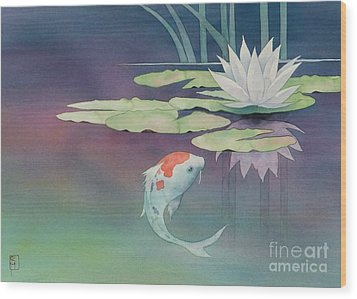 Lily And Koi Wood Print by Robert Hooper