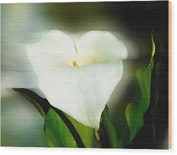 Lily Faux Watercolor Wood Print