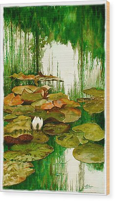 Reflections Among The Lily Pads Wood Print