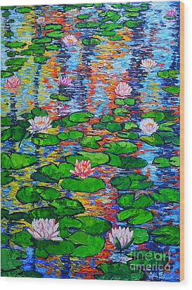 Lily Pond Colorful Reflections Wood Print by Ana Maria Edulescu