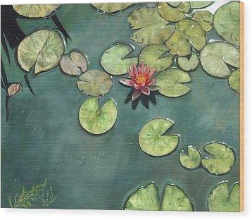 Lily Pond Wood Print by David Stribbling