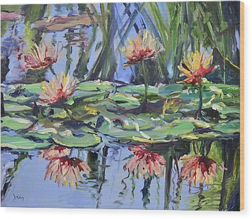 Lily Pond Reflections Wood Print by Donna Tuten