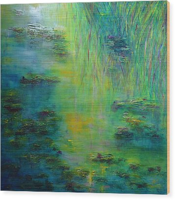 Lily Pond Tribute To Monet Wood Print by Claire Bull