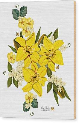 Lily Triplets Wood Print by Anne Norskog