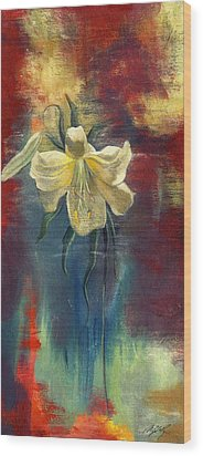 lily with Abstraction Wood Print by Alfred Ng