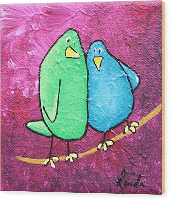 Limb Birds - Green And Turq Wood Print by Linda Eversole