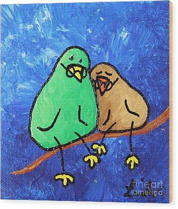 Limb Birds - Lasting Love Wood Print by Linda Eversole