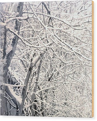 Limbs Covered With Snow Wood Print