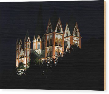 Limburg Cathedral At Night Wood Print by Jenny Setchell