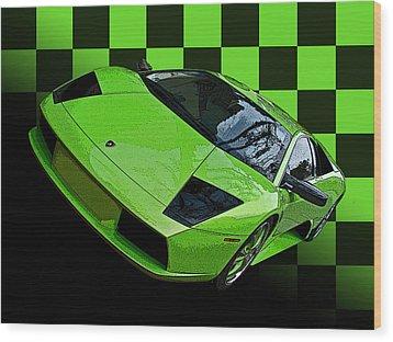 Lime Green Lamborghini Murcielago With Checkerboard Wood Print by Samuel Sheats
