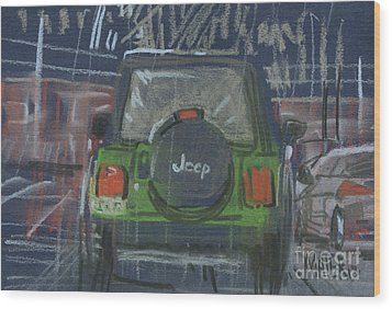 Wood Print featuring the painting Lime Jeep by Donald Maier