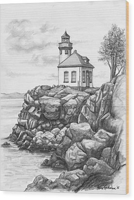 Lime Kiln Lighthouse Wood Print by Kim Lockman