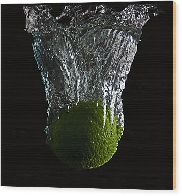 Wood Print featuring the digital art Lime Splash by John Hoey