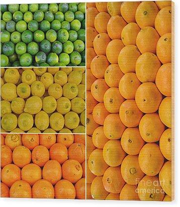 Limes Lemons Oranges Wood Print by Sabine Jacobs