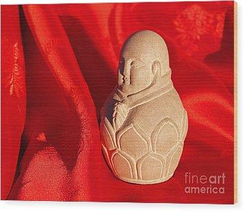 Limestone Buddha On Red Silk Wood Print by Anna Lisa Yoder