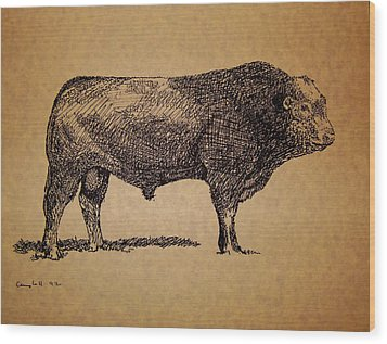 French Limousine Bull Wood Print by Larry Campbell