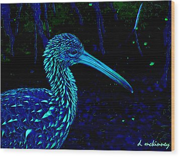 Wood Print featuring the painting Limpkin by David Mckinney