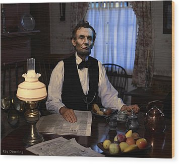 Lincoln At Breakfast 2 Wood Print by Ray Downing