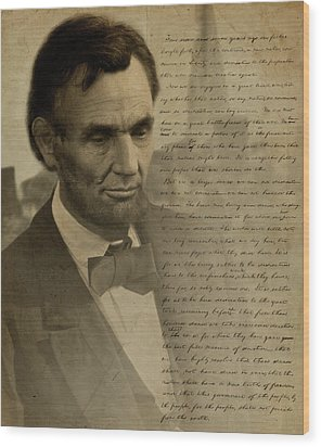 Lincoln At Gettysburg Wood Print