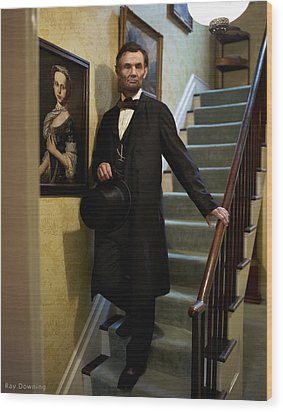 Lincoln Descending Stairs 2 Wood Print by Ray Downing
