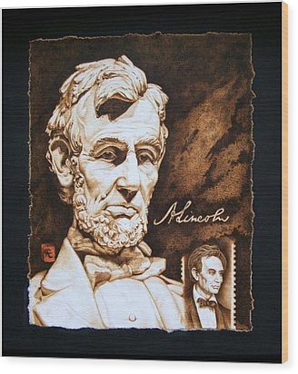 Lincoln Memorial And The Younger Wood Print by Cynthia Adams