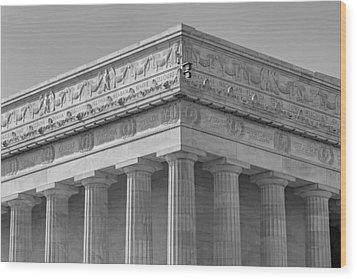 Lincoln Memorial Columns Bw Wood Print by Susan Candelario