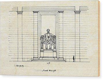 Lincoln Memorial Sketch Wood Print by Gary Bodnar