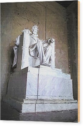Wood Print featuring the painting Lincoln Memorial by Ike Krieger