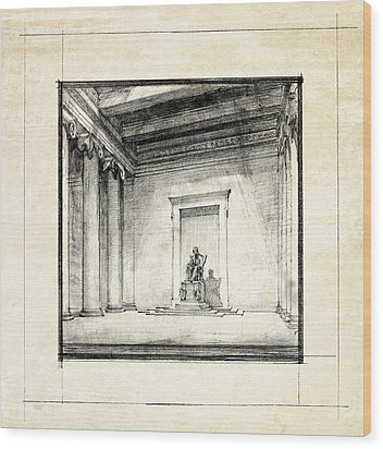 Lincoln Memorial Sketch IIi Wood Print by Gary Bodnar