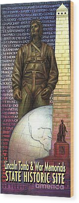 Wood Print featuring the painting Lincoln Tomb And War Memorials Street Banners Korean War Pilot by Jane Bucci